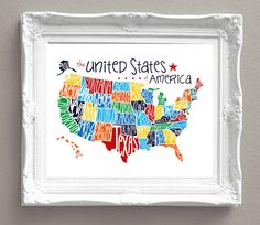 United States of America Map Primary Colors by sweetleighmama, $39.99