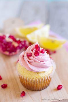 Lemon Pomegranate Cupcakes