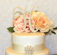 Pearl Monogram Wedding Cake Topper Decorated with Pearls available in any letter A B C D E F G H I J K L M N O P Q R S T U V W X Y Z on Etsy, $35.00