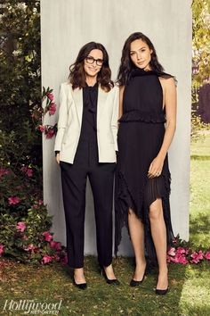 On Gadot: Givenchy dress, Jimmy Choo shoes. On Stewart: Givenchy jacket, blouse, pants; Jimmy Choo shoes. Photographed by Sami Drasin on March 1 at the Beverly Hills Women's Club.