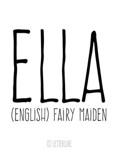 Ella Name Meaning Art - Printable Baby Shower Gift - Nursery Printable Art - Digital Print - Nursery Decor - Typography Wall Decor L Baby Girl Names, Kid Names, Children Names, Ella Name, Names With Meaning, Name Meanings, Word Meaning, Classic Names, Clever Quotes