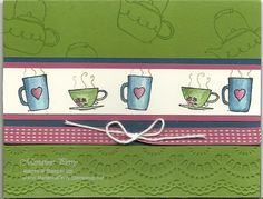 """Morning Cup for main image and """"DSP"""" background w ribbon, twine and border punch"""