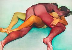 """Daily Pic (Miami Basel Edition): """"Hold,"""" a huge painting by Joan Semmel from 1971 that's now on view at Alexander Gray's booth at Art Basel. Semmel's forthright images of naked couples seem more and. Ex Libris, Make Love, Creators Project, Feminist Art, Figure Painting, Figure Drawing, Erotic Art, Traditional Art, Art World"""
