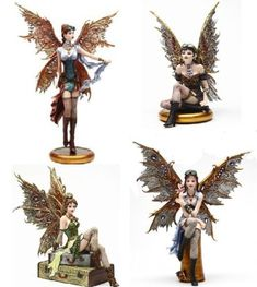 "Steampunk Fairy Set of 4 Figurines ""Rebecca"" ""Jess"" ""Tabitha"" ""Naomi"""