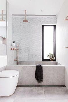 Modern Scandinavian Bathroom Interior In White - Interior Design Ideas Minimal Bathroom, White Bathroom, Modern Bathroom, Small Bathroom, Master Bathroom, Bathroom Marble, Bathroom Vanities, Marble Bath, Industrial Bathroom