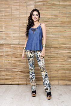 Regata Jeans, Ref. 60281 Calça Bengaline estampada, Ref. 56595