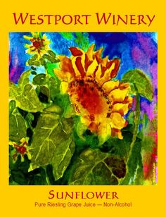Thanks to a dear friend's suggestion we also have a non-alcohol Riesling grape juice called Sunflower at Westport Winery. The label is another wonderful watercolor from Blain's surf buddy Darryl Easter. We grew sunflowers this summer in our new Allelopathic Allee as an experimental weed control.