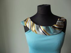 Upcycled Clothing / Blue Camisole with by GarageCoutureClothes, $30.00