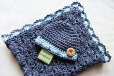 Baby Boy Shower Gift Set - Baby Boy Blanket - Denim Blue Stroller/Travel blanket and hat - Crochet baby blanket