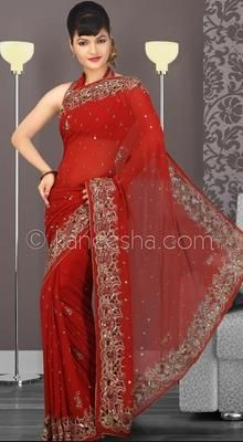 Attractive Red Embroidered Saree