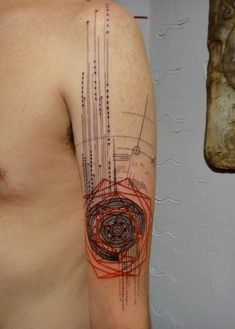 graphic dual color tattoo