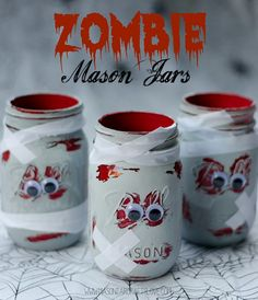 These zombie mason jars are the perfect mix of spooky and adorable! The kids will love helping with this craft! #DIY #Halloween Spooky Halloween, Halloween Mason Jars, Holidays Halloween, Halloween Crafts, Halloween Decorations, Diy Zombie Crafts, Craft Decorations, Disneyland Halloween, Halloween Kitchen