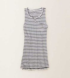 Aerie Striped Tank Dress.  Notched scoop neck and side slits! #Aerie