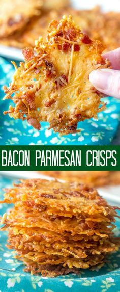 Diet Snacks Crispy, crunchy and cheesy these Bacon Parmesan Crisps are a delicious low carb snack that aren't only addicting but quick and easy to make! Parmesan Chips, Parmesan Cheese Crisps, Keto Cheese Chips, Cheese Snacks, Bacon Recipes, Low Carb Recipes, Cooking Recipes, Milk Recipes, Vegaterian Recipes
