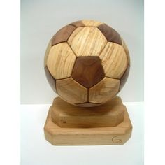 Handmade Full Size, Double Base Wooden Replica Soccer Ball made from Maple and Walnut. Sports Trophies, Football Trophies, Wood Turning Projects, Wood Projects, Woodworking Projects, Concrete Wood, Handmade Wooden, Soccer Ball, Wood Work