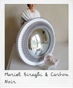 Création Miroir Sorcière by Cécile Chapuis,  http://www.carton-noir.com/ Création Manchette Dentelle Pivoine by Muriel Biraghi