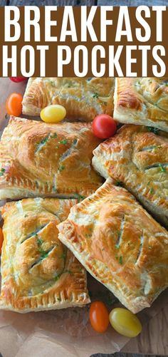Breakfast Hot Pockets are flaky puff pastry filled with cheesy scrambled eggs, green onions, & breakfast sausage. Nothing beats these fresh! Starting with convenient frozen puff pastry, you get maximum wow for minimum effort on this deliciously irresistible brunch, breakfast, or brinner offering. Scandalously cheesy scrambled eggs and breakfast sausage links fill the flaky pastry and make these hard to pass up! Breakfast Sausage Links, Breakfast Items, Breakfast Dishes, Breakfast Recipes, Breakfast Puff Pastry, Breakfast Sandwiches, Cheesy Eggs, Hot Pocket Recipes