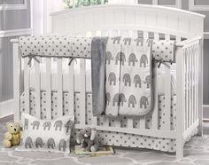 Gray Elephant Nursery | Liz & Roo Gray Elephant 4 Piece Crib Bedding Set : Kids N Cribs.com ...