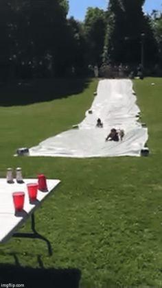 Slip 'n Slide flip cup drinking game!