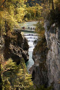 Maximiliansweg (long-distance hiking path through the Bavarian Alps) bridge over the Lech River, Füssen, Bavaria, Germany | Andreas Riedmiller