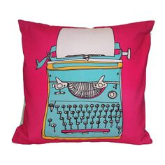 Vintage Typewriter Illustration Cushion - Blue and Pink Small Cushions, Floral Cushions, Embroidered Cushions, Decorative Cushions, Scatter Cushions, Printed Cushions, Contemporary Cushions, Modern Cushions, Retro Typewriter