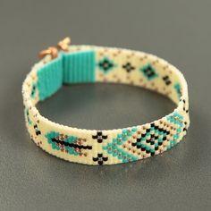 Turquoise Feathers Bead Loom Bracelet Bohemian Boho by PuebloAndCo