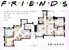 floor plans from TV shows! (this is the plan from the Chandler/Joey and Monica/Rachel apartments in FRIENDS) Friends Tv Show, Tv: Friends, Serie Friends, Friends Moments, Friends Image, Rachel Friends, Chandler Friends, Friends Episodes, Funny Friends