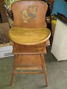 Antique Lehman Baby Guard Wood High Chair antique wooden high chair with cowboy motif applique sticker on the back, adjustable foot rest and sliding tray. Great Memories, Childhood Memories, Childhood Toys, Fisher Price, Vintage Toys, Retro Vintage, Retro Baby, Wooden High Chairs, Nostalgia
