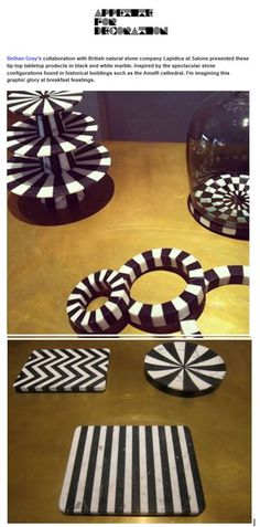 These striped marble, table-top accessories are a collaboration between Lapicida and designer Bethan Gray, and are inspired by the stripes of Amalfi cathedral. http://www.lapicida.com/ Appetite for Decoration, July 2013