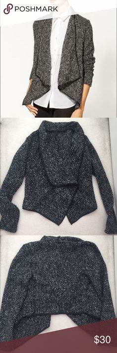 Ark & Co Textured Black & Gray Jacket Great jacket for the winter time. Faux leather piping. Back of jacket from collar to bottom is 21.5 inches. It has barely been worn! Ark & Co Sweaters Cardigans