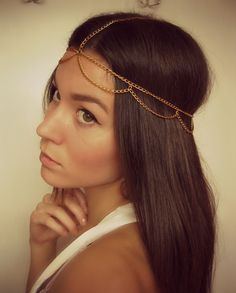 Gold headpiece, egyptian head chain