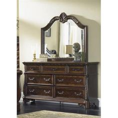 Liberty Furniture Highland Court Dresser & Mirror in Rich Cognac Finish…