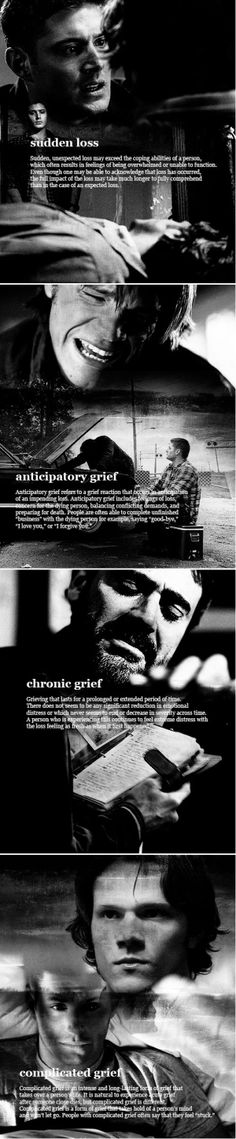 Supernatural, a show filled with grief. Winchester Boys, Winchester Brothers, Anticipatory Grief, Complicated Grief, Sam Dean, Two Brothers, Supernatural Fandom, Destiel, Superwholock