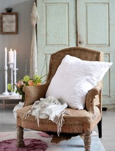 Love this room --and love the colors --white, beige, palest of aqua, rich rose