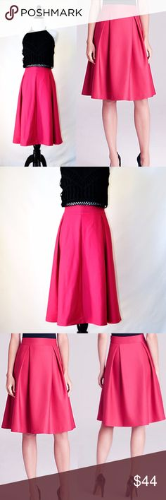 NWT Lucy paris Full Midi Pink Skirt New with tag Lucy paris  A ladylike shape in statement-making pink makes the ultimate girly-glam statement  on Lucy Paris's full-and-fabulous midi skirt  Hot pink Midi skirt Pleated Concealed side zip closure Lined 95% Polyester / 5% Spandex Lining 95% Polyester / 5% Spandex Dry clean Size M Lucy paris Skirts A-Line or Full