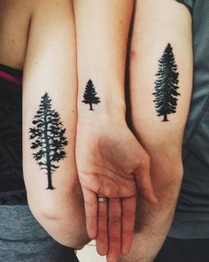 Show off your love of the outdoors with a set of matching tree sibling tattoos.