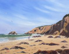"""Torquay Surf Beach - 10"""" x 12"""" Oil on Board Framed. Oil painting of Torquay Surf Beach (Free shipping) $370"""