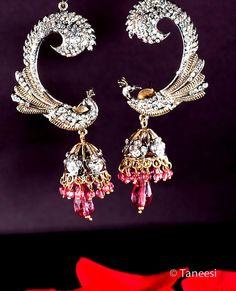 Pink Peacock Jhumka EarringsPink Chandelier by taneesijewelry, $35.00