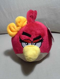 """New Angry Birds Plush, Red Girl with Yellow Bow, 5"""" Valentine's Day Toy"""