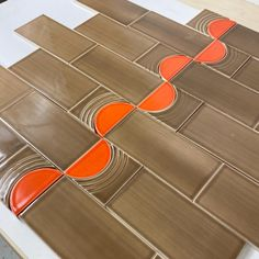 Give us a shout for samples. This Echo and Half Moon are the perfect way to make boring subway tile cool. Customize in any of our 70 glazes. Made with love in Nashville, TN. Tile Crafts, Handmade Tiles, Decorative Tile, Subway Tile, Nashville, Moon, Traditional, Cool Stuff, Red