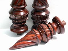 Vintage Turned Wood Finial (11 Inches)   Ornate Mahogany Torch Flame With  Double Ruffle   Furniture Salvage   Newel Post Finial Architectural
