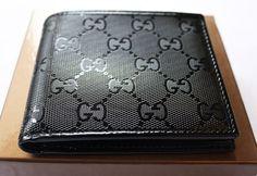 Gucci Wallet  (Shiny Black, Bifold, Men's Pre-owned Wallets)
