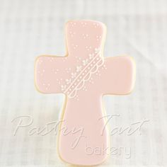 Baptism Cross Cookies Pink - 1 doz - Christening Baby Shower - First Communion - Vintage Lace