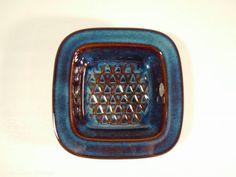 Click to see more photos! Wonderful blue series Søholm Denmark square bowl - design by Einar Johansen, no. 3335 #vintage #midcentury #madmen