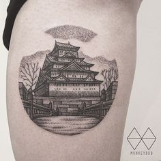 Osaka Castle Tattoo by Monkey Bob