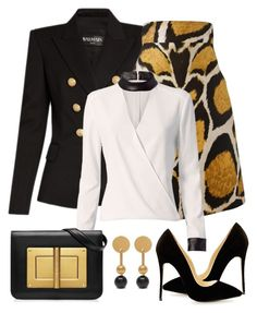 """Untitled #1178"" by gallant81 ❤ liked on Polyvore featuring Balmain, Giles, Exclusive for Intermix and Mulberry"