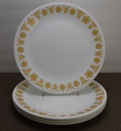 6 Corelle by Corning 10 1/4 inch Dinner Plates by CorningWarehouse & Corelle Spring Blossom Green salad plates 6?3/4 inches by Corning ...