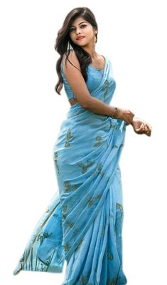 Sky blue embroidered chanderi silk saree with blouse - Shree Impex - 2360950 Chanderi Silk Saree, Silk Sarees, Bollywood Designer Sarees, Blouse Designs, Tie Dye Skirt, Sky, Skirts, Blue, Color