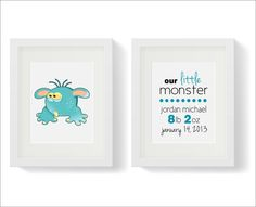 Our Little Monster Art Print Collection Set of 2 for Children's Room Baby Nursery Art Baby Boy Birth Details Weight Art Print 8x10 on Etsy, $35.00