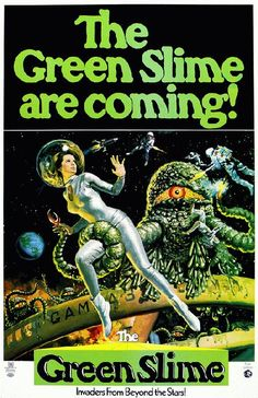 High quality reprinted movie poster for Green Slime starring Robert Horton, Luciana Paluzzi and Richard Jaeckel from 1968. 11 x 17 inches on card stock.